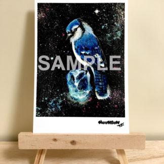 ポストカード ミニキャンバスシリーズ 青い鳥と綺麗な石04