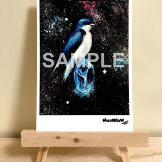 ポストカード ミニキャンバスシリーズ 青い鳥と綺麗な石08